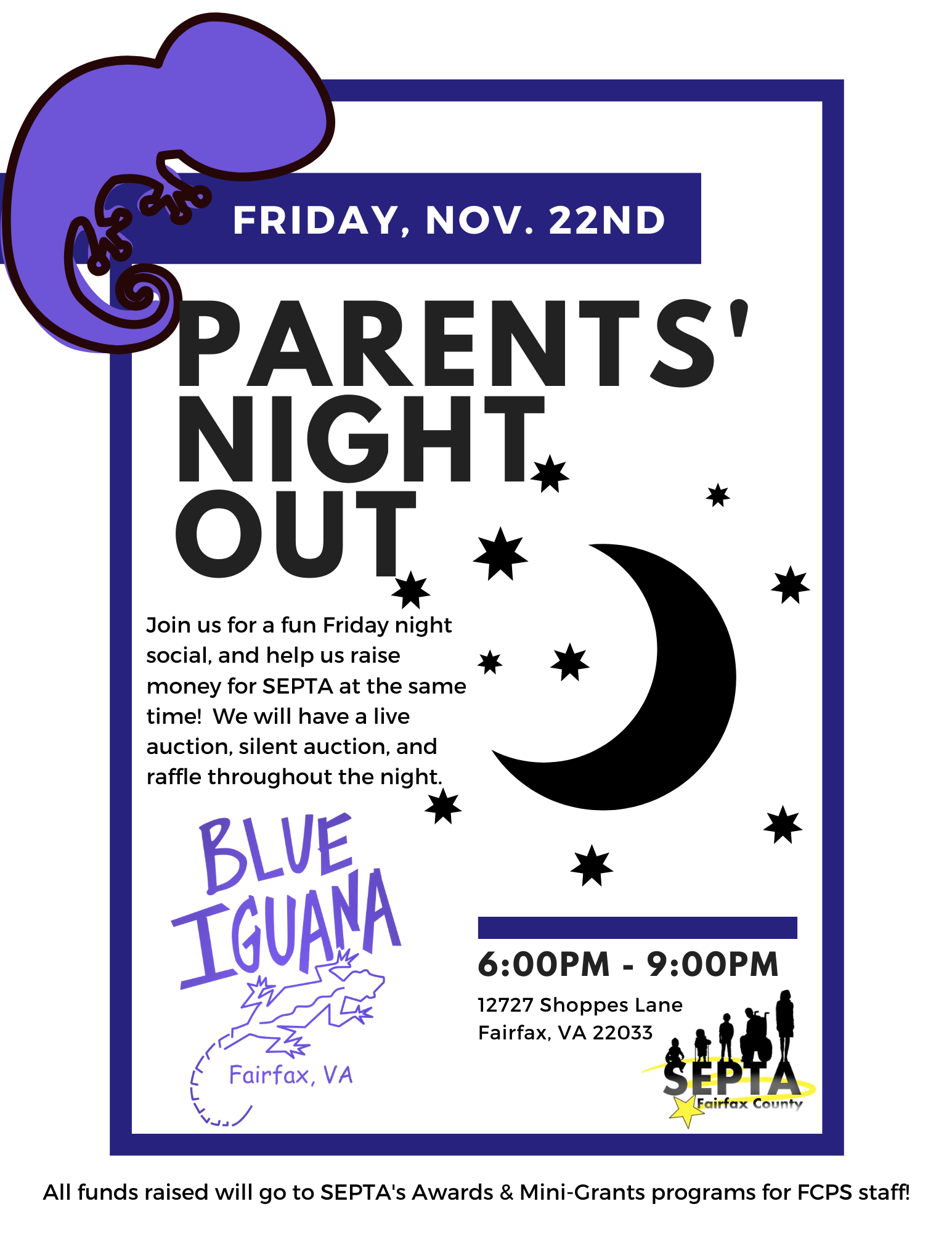 Parent's Night Out at the Blue Iguana - Friday November 22 from 6PM to 9PM