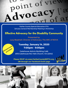 "Image has 3 parts - the top third is a black and white image of ""advocacy"" as it appears in a dictionary. The bottom third is black and white pictures depicting children who have disabilities of various ages. The middle 3rd is blue with yellow, orange and white writing listing out the event details for SEPTA's ""Effective Advocacy for the Disability Community"" event which occurs on January 14, 2020. Click the link below to be taken to the eventbrite for further written information."