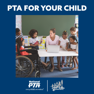 """Center image shows 6 students - representing diverse races and abilities - clustered around their teacher, who is sitting at a desk looking at a laptop. The background is a deep navy blue. At the top, in white, """"PTA FOR YOUR CHILD"""" is written. At the bottom appear the National PTA and Fairfax County SEPTA logos in white and greyscale, respectively"""