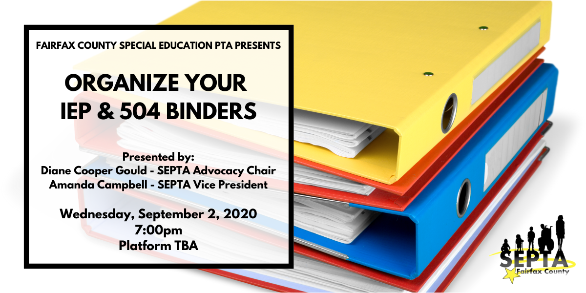SAVE THE DATE: Organize Your IEP & 504 Binder