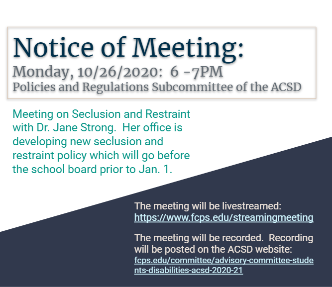 Notice of ACSD Meeting on October 26, 2020