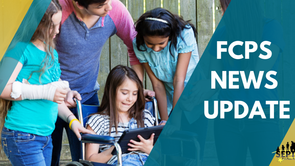 """Large white text on the right reads """"FCPS News Update"""". On the left appears a student in a wheelchair holding a tablet, with students surrounding them reading the tablet over their shoulder. FCPS' Brand colors, teal and gold, frame the image with alternating diagonal stripes. The SEPTA logo appears in the bottom right."""